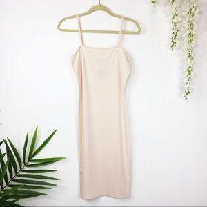 NWT TOPSHOP midi dress spaghetti straps pink